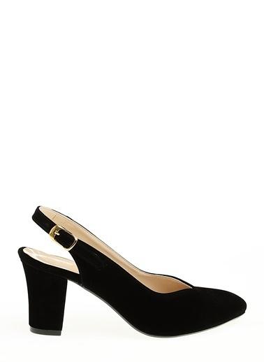 D by Divarese Kalın Topuklu Süet Ayakkabı Siyah